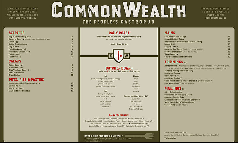 Commonwealth Menu
