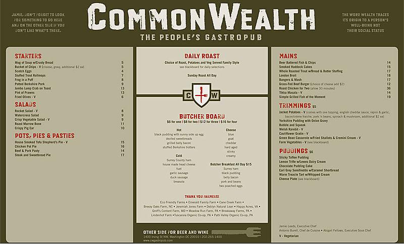 Commonwealth Menu
